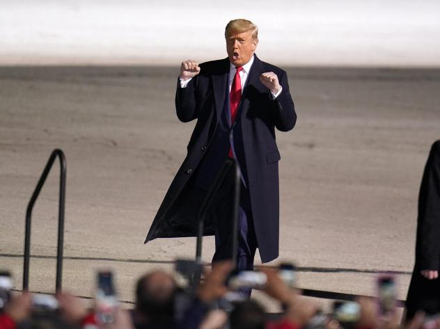 President Trump arrives for a campaign rally at Erie International Airport, Tom Ridge Field in Erie, Pa., on Tuesday.