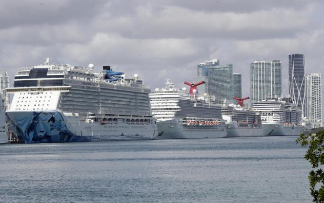 Cruise ships are docked at the Port of Miami in the spring. The Centers for Disease Control and Prevention suspended cruises from U.S. ports in March after coronavirus outbreaks on a number of ships.