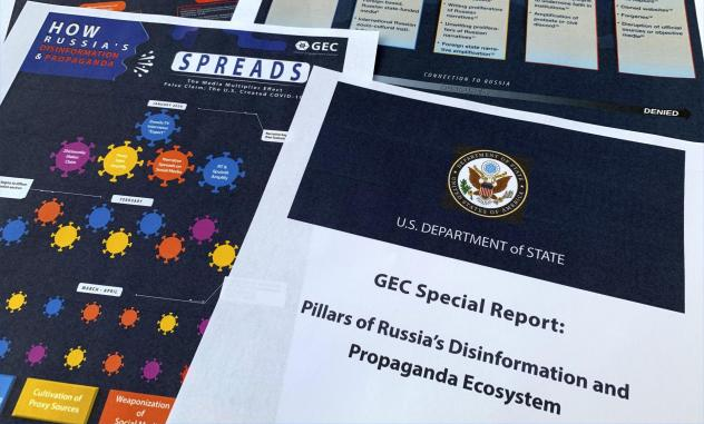 """A State Department report on Russian online operations to promote conspiracy theories and misinformation. Some analysts also warn of """"perception hacks,"""" when relatively small-scale hacks are uncovered and then widely discussed by government officials, ne"""