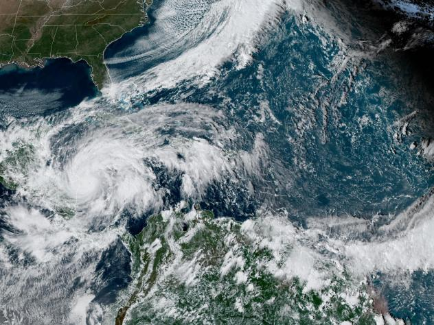 Satellite imagery of Hurricane Eta. It was upgraded to a major hurricane by the National Hurricane Center on Monday. It is expected to dump 35 inches of rain in some isolated areas of Nicaragua after making landfall.