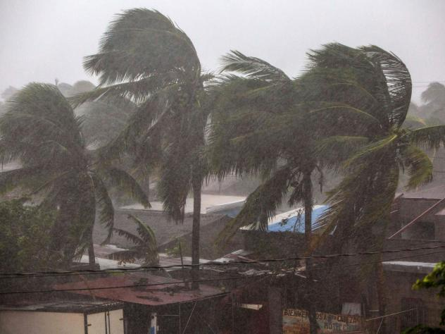 Palm trees blow in the wind as Hurricane Eta nears landfall in Bilwi, Puerto Cabezas, Nicaragua, on Tuesday.