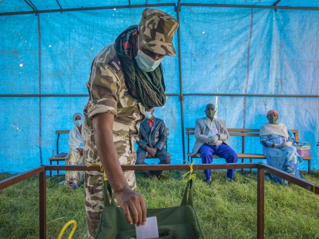 A member of Tigray Special Forces casts his vote in a local election in the regional capital Mekelle, in the Tigray region of Ethiopia in September. The vote defied the federal government and increased tensions in Africa's second most populous country.