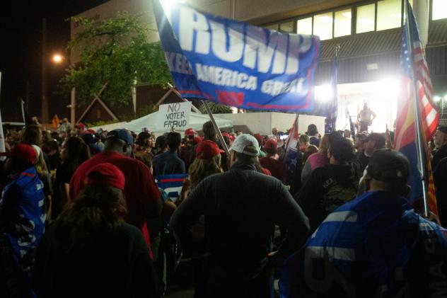 Supporters of President Trump gather to protest election results at the Maricopa County Elections Department office on Nov. 4 in Phoenix.