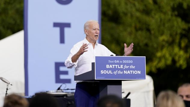 President-elect Joe Biden speaks at a drive-in rally at Cellairis Amphitheatre in Atlanta on Oct. 27. Biden is the first Democratic presidential nominee to win Georgia since 1992.