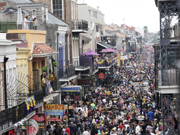 Bourbon Street is a sea of humanity on Mardi Gras in New Orleans in February. The city will not allow Mardi Gras parades in 2021.
