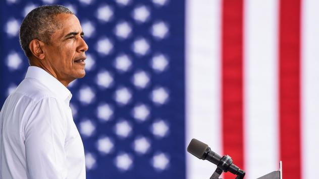 Former President Barack Obama speaks at a Biden-Harris drive-in rally in Miami on Oct. 24. In his first interview with Terry Gross, Obama talks about what he misses most about being president and reflects on the turmoil of the Trump White House. Obama's