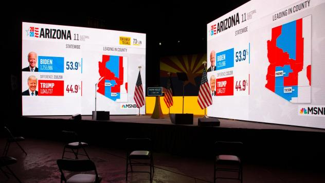 Arizona presidential election results from MSNBC are displayed during Democratic Senate candidate Mark Kelly's Nov. 3 election-night event in Tucson, Ariz. Like many other news organizations, NBC held off on calling Arizona for Joe Biden, while The Assoc