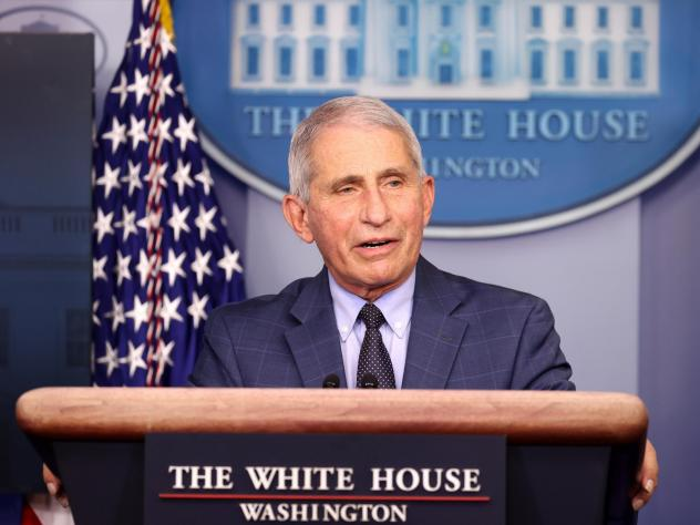 Dr. Anthony Fauci speaks during a White House Coronavirus Task Force press briefing Thursday at the White House.