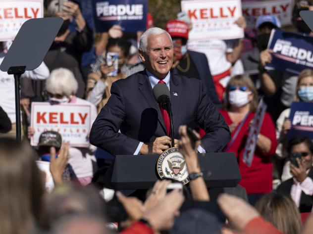 "Vice President Mike Pence speaks during a rally Friday in Canton, Ga., where he vowed: ""We're going to keep fighting until every legal vote is counted. We're going to keep fighting until every illegal vote is thrown out."""