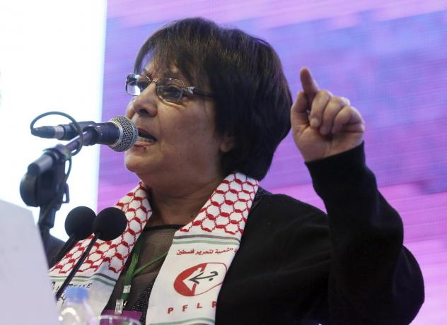 Leila Khaled, activist and prominent member of the Popular Front for the Liberation of Palestine PFLP, speaks during the congress of pro-Kurdish Peoples' Democratic Party, or HDP, in Februrary 2018.