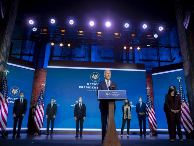 President-elect Joe Biden introduces key foreign policy and national security nominees and appointments at The Queen theater in Wilmington, Del., on Nov. 24.