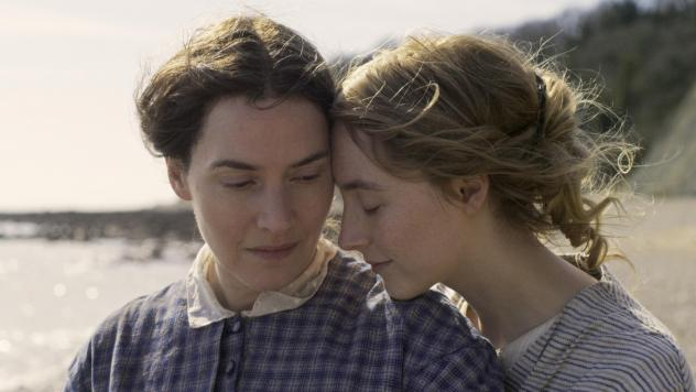 Kate Winslet and Saoirse Ronan star as Mary Anning and Charlotte Murchison in <em>Ammonite.</em>