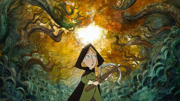 Robyn (voiced by Honor Kneafsey) heads into the woods in the animated film <em>Wolfwalkers</em>.