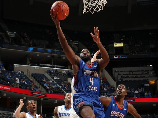 Troyce Manassa #4 of the Savannah State Tigers shoots a layup against the Memphis Tigers at FedExForum in Memphis in 2016.