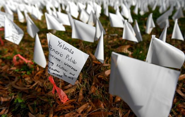 White flags planted by volunteers visualize lives lost in the U.S. to COVID-19 as part of an installation by artist Suzanne Firstenberg in Washington, D.C. The death toll has now reached 300,000.