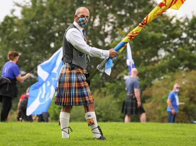 Supporters of Scottish independence gather at the site of the Battle of Bannockburn in August in Bannockburn, Scotland. The site is where the army of the king of Scots, Robert the Bruce, defeated the army of England's King Edward II in 1314 in the First