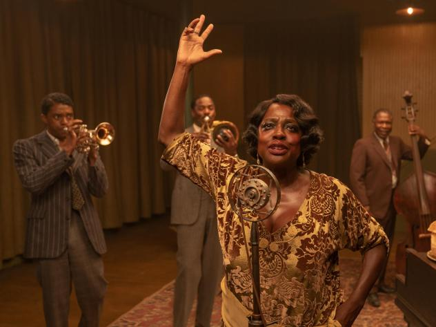 Chadwick Boseman as Levee, Colman Domingo as Cutler, Viola Davis as Ma Rainey, Michael Potts as Slow Drag, and Glynn Turman as Toledeo in <em>Ma Rainey's Black Bottom.</em>