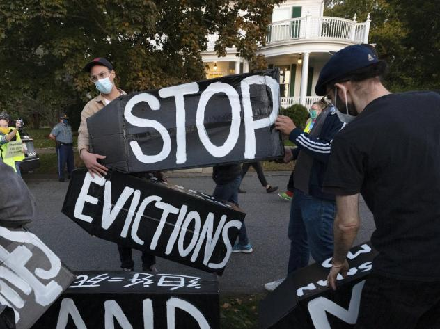 Housing activists protesting evictions in Massachusetts, which recently allowed its sweeping statewide eviction ban to expire. That leaves residents with only a much weaker eviction protection order from the Centers for Disease Control and prevention.