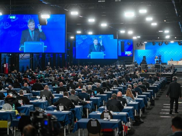 Jörg Meuthen, co-federal leader of the Alternative for Germany (AfD) political party, speaks at the party congress Nov. 28, in Kalkar, Germany. Meuthen criticized the party's right wing in his speech. The AfD held the two-day congress in person, as tota