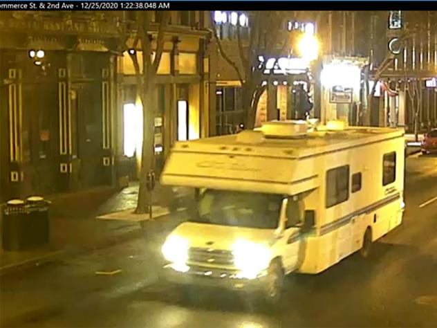 A screengrab of surveillance footage shows the recreational vehicle used in the Christmas day bombing in Nashville, Tennessee. The girlfriend of the man who carried out the attack says she warned police in August of last year that he was making bombs in