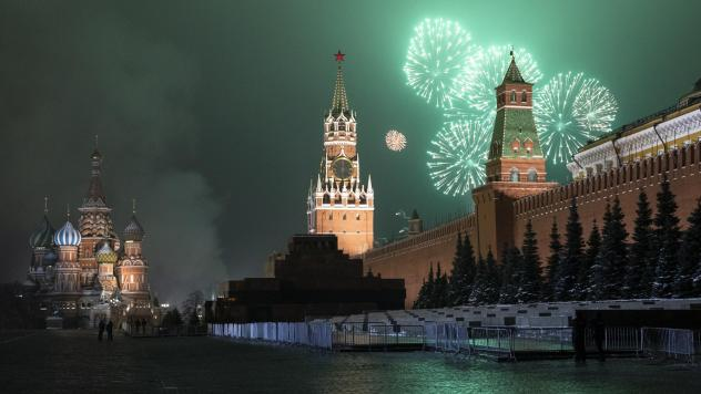 Fireworks explode over the Kremlin and Red Square during New Year's celebrations on Jan. 1 in Moscow. The U.S. government says a widespread computer incursion into U.S. government and private computer networks was likely carried out by Russia.