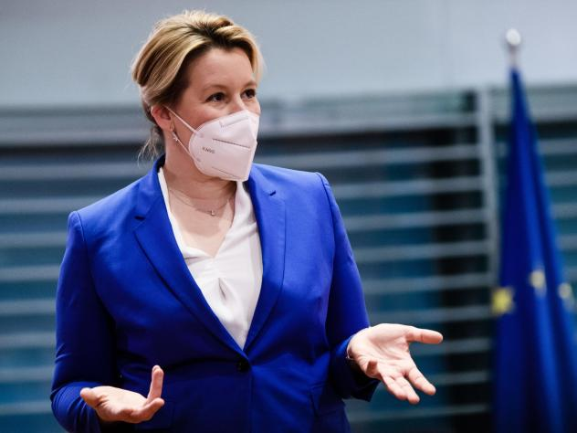 German Minister for Family Affairs, Senior Citizens, Women and Youth Franziska Giffey during the meeting of the German cabinet on Wednesday in Berlin. The cabinet approved a draft law that would require women on the executive boards of large publicly hel
