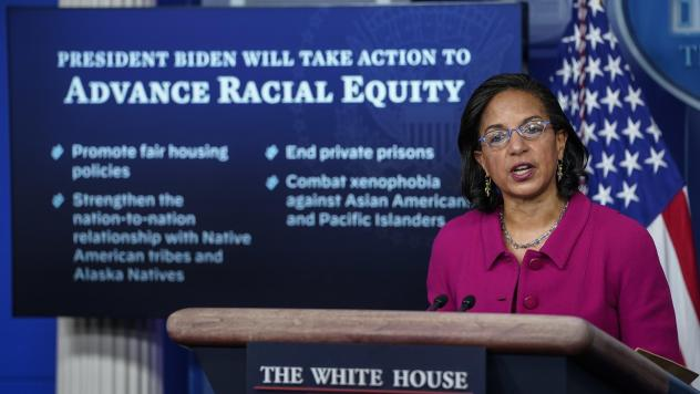 Susan Rice, President Biden's domestic policy adviser, discusses his racial equity agenda Tuesday at the White House.