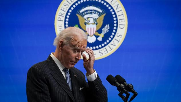 President Biden pauses while speaking after signing an executive order related to manufacturing at the White House on Jan. 25. Biden is off to a fast start, but is running into resistance in Congress.