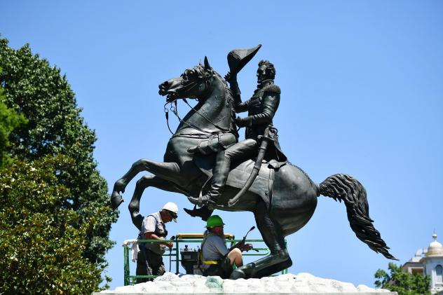 A statue of President Andrew Jackson in Lafayette Square near the White House in June.