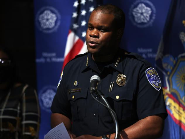 Former Rochester, N.Y., Police Chief La'Ron Singletary, pictured at a press conference in September, was terminated from the department later that month. He will be deposed by members of the Rochester City Council investigating the death of Daniel Prude