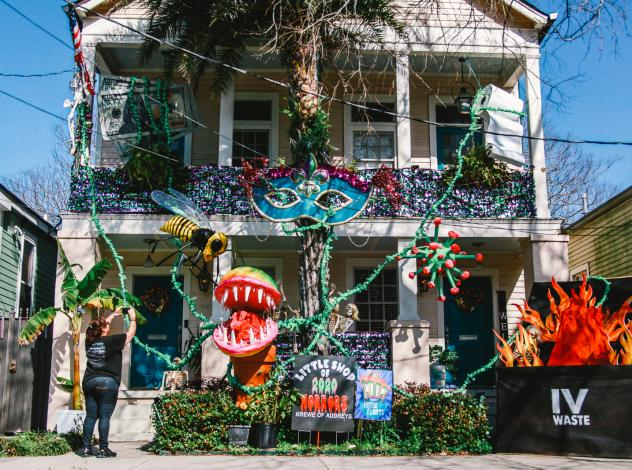 """Just because the Mardi Gras parades are canceled, it hasn't stopped people's creativity. The """"Little Shop of 2020 Horrors"""" house float is in the Algiers Point neighborhood of New Orleans."""
