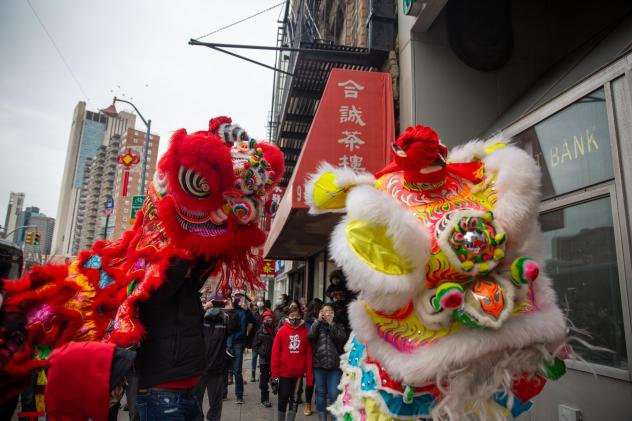 The Chinatown Community Young Lions perform lion dancing at the Lunar New Year Celebration in Manhattan's Chinatown on Feb. 12.