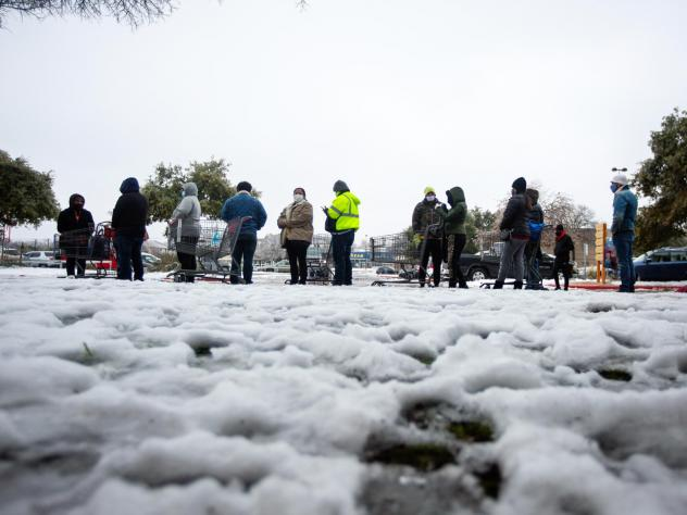 """People wait in long lines at an H-E-B grocery store in Austin, Texas, on Wednesday. The  weather disaster is an """"absolutely awful nightmare,"""" says Austin City Council member Natasha Harper-Madison."""