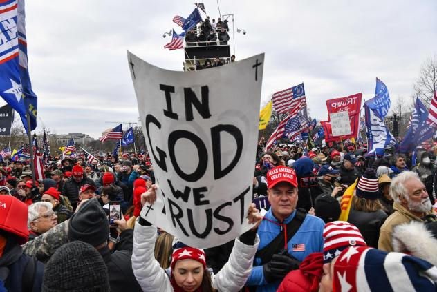 """Protesters gather at the U.S. Capitol on Jan. 6. A violent mob later breached the Capitol's security driven by what's commonly known as """"the big lie:"""" that President Biden wasn't legitimately elected."""