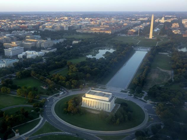 The skyline of Washington, D.C., including the Lincoln Memorial, Washington Monument, U.S. Capitol and National Mall, seen on June 15, 2014.