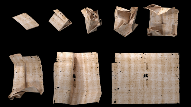 "Computer-generated unfolding sequence of sealed letter DB-1538. New research describes how ""virtual unfolding"" was used to read the contents of sealed letter-packets from 17th-century Europe without physically opening them."