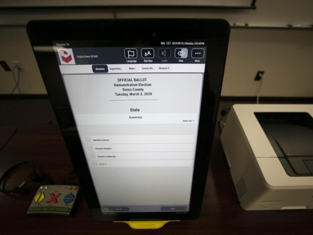 A sample ballot is shown using the Dominion Voting system, the machines that have been under attack by former President Trump following the 2020 elections.