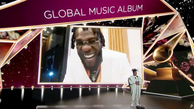 """Burna Boy accepted the Best Global Music Album award for 'Twice as Tall' from Chika at the Grammy awards on March 14. His <a href=""""https://youtu.be/Kx68g1rLbbU"""" data-key=""""179"""">acceptance speech</a> was dedicated to all of Africa."""
