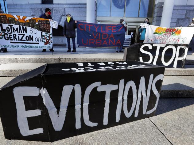 Tenants' rights advocates demonstrated in Boston in January, calling on the Biden administration to extend the CDC eviction moratorium.