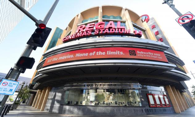 Regal Cinemas says it will reopen its U.S. theaters next month. A closed box office is seen here in Los Angeles in June after theaters were closed due to the pandemic.