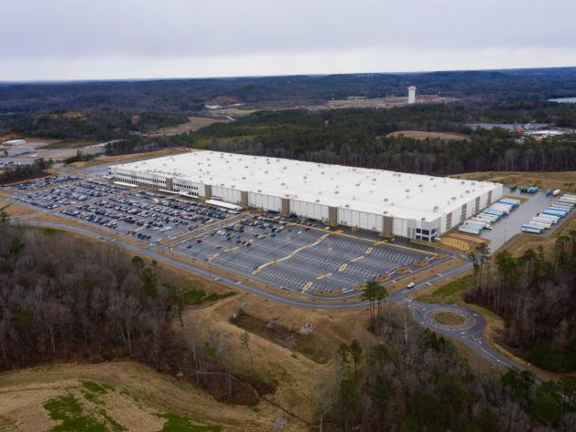 Vote tally begins in a union election at Amazon's warehouse in Bessemer, Ala., pictured here on Feb. 6.