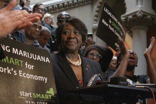 Assemblywoman Crystal Peoples-Stokes, a Democrat who represents Buffalo, speaks at a rally for marijuana legalization at the New York state Capitol in Albany on Jan. 28, 2020.