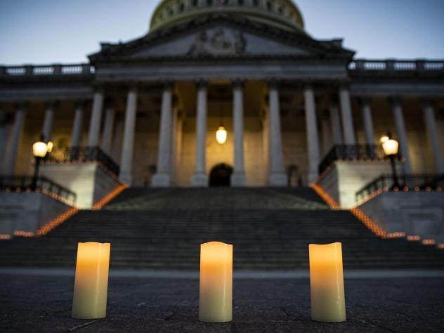 Congressional leaders held a candlelight vigil outside the U.S. Capitol in Washington, D.C. on February 23, 2021 to mark the more than 500,000 U.S. deaths due to the COVID-19 pandemic. COVID-19 was the third leading underlying cause of death in 2020, acc