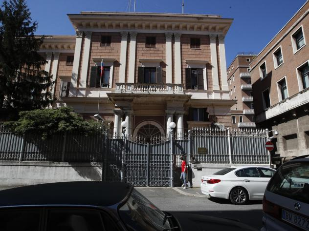 The Russian Embassy in Rome on Wednesda. Italy has ordered two Russian Embassy officials expelled and arrested an Italian Navy captain on spying charges after police caught the Italian allegedly giving classified documents to one of the Russians in excha