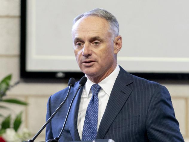 """Major League Baseball Commissioner Rob Manfred, pictured in January, on Friday said the organization unwaveringly supports """"fair access to voting."""""""