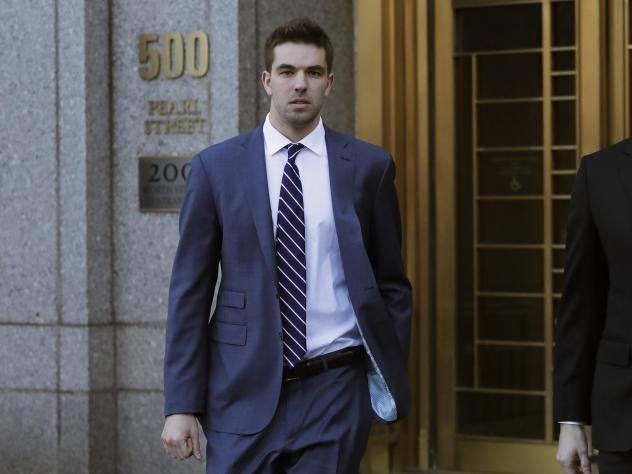 Billy McFarland, pictured leaving federal court in March 2018, was sentenced to six years in prison after pleading guilty to fraud charges related to the failed Fyre Festival. Ticket holders and event organizers reached a settlement in a class-action sui