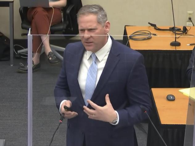 Prosecutor Steve Schleicher gives closing arguments Monday in the trial of former Minneapolis police officer Derek Chauvin.