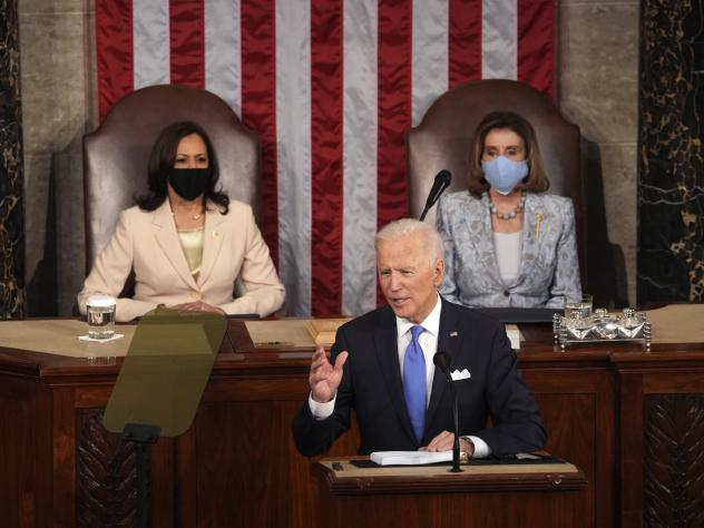 President Joe Biden speaks to a joint session of Congress on Wednesday in the House Chamber at the U.S. Capitol in Washington, as Vice President Kamala Harris and House Speaker Nancy Pelosi watch.
