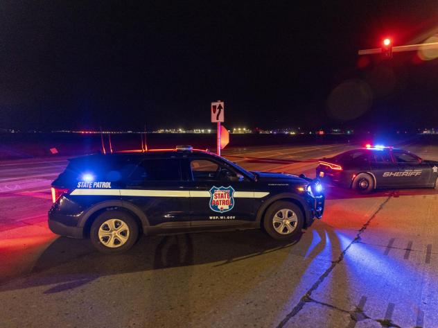 Law enforcement blocks the road in front of the Oneida Bingo and Casino in Green Bay, Wis. on Saturday May 1, 2021 after reports of an active shooter.