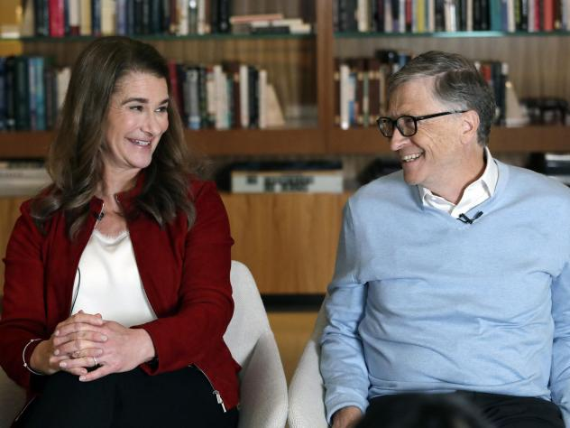 Bill and Melinda Gates smile at each other during an interview in Kirkland, Wash., in 2019. The couple announced on Monday that they are divorcing.